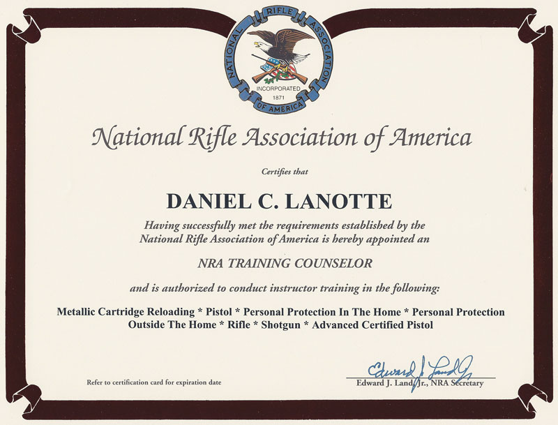 NRA Training Counselor Certificate - Dan Lanotte